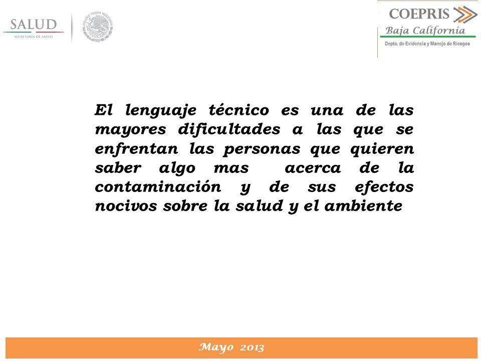 DIRECCION DE PROTECCION CONTRA RIESGOS SANITARIOS Mayo 2013 El lenguaje técnico es una de las mayores dificultades a las que se enfrentan las personas
