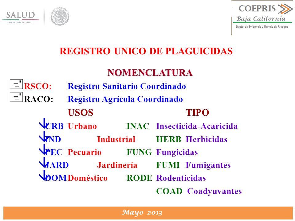 DIRECCION DE PROTECCION CONTRA RIESGOS SANITARIOS Mayo 2013 REGISTRO UNICO DE PLAGUICIDAS NOMENCLATURA + RSCO:Registro Sanitario Coordinado + RACO:Reg
