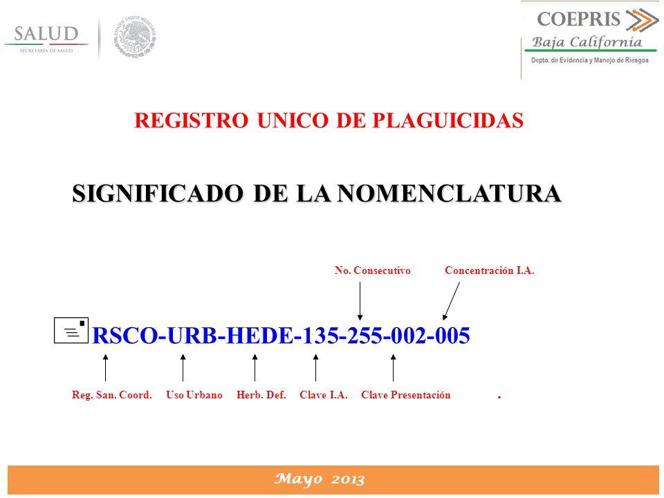 DIRECCION DE PROTECCION CONTRA RIESGOS SANITARIOS Mayo 2013 REGISTRO UNICO DE PLAGUICIDAS SIGNIFICADO DE LA NOMENCLATURA No. Consecutivo Concentración