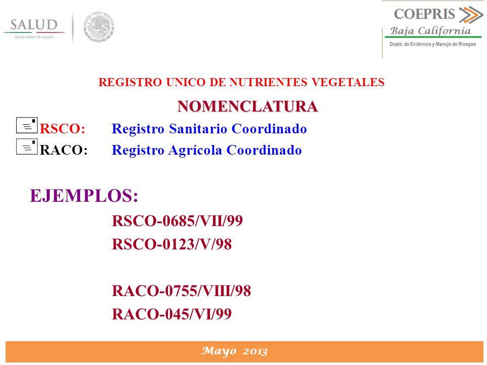 DIRECCION DE PROTECCION CONTRA RIESGOS SANITARIOS Mayo 2013 REGISTRO UNICO DE NUTRIENTES VEGETALES NOMENCLATURA + RSCO:Registro Sanitario Coordinado +