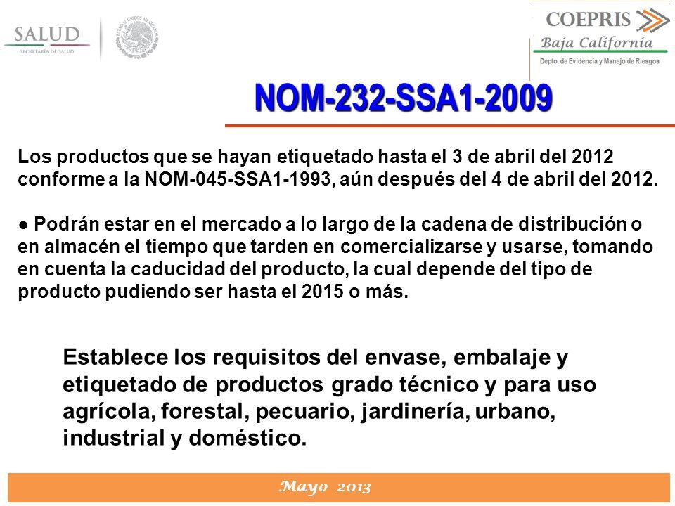 DIRECCION DE PROTECCION CONTRA RIESGOS SANITARIOS Mayo 2013 NOM-232-SSA1-2009 Establece los requisitos del envase, embalaje y etiquetado de productos