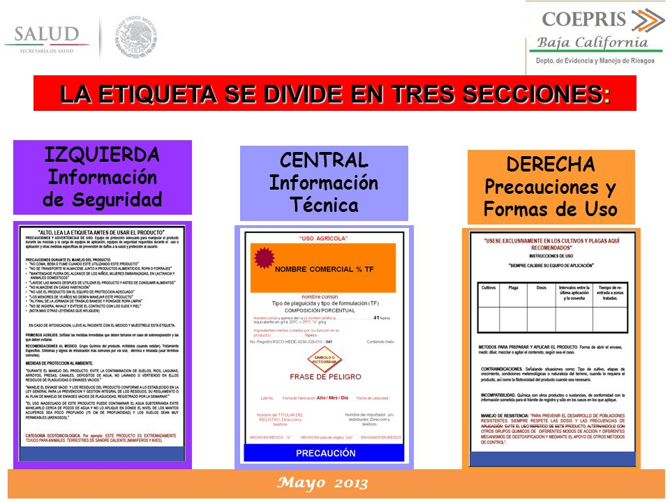 DIRECCION DE PROTECCION CONTRA RIESGOS SANITARIOS Mayo 2013 DERECHA Precauciones y Formas de Uso LA ETIQUETA SE DIVIDE EN TRES SECCIONES: IZQUIERDA In