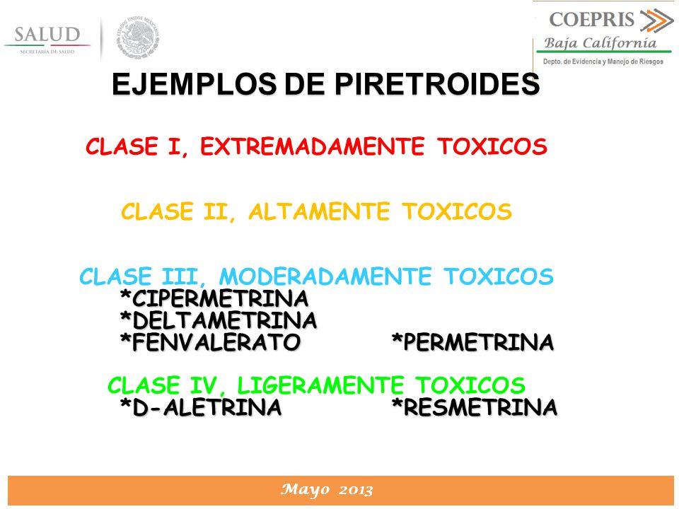 DIRECCION DE PROTECCION CONTRA RIESGOS SANITARIOS Mayo 2013 CLASE I, EXTREMADAMENTE TOXICOS CLASE II, ALTAMENTE TOXICOS CLASE III, MODERADAMENTE TOXIC