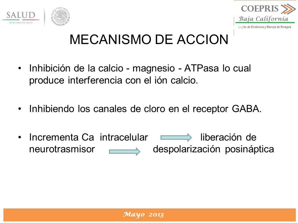 DIRECCION DE PROTECCION CONTRA RIESGOS SANITARIOS Mayo 2013 DIRECCION DE PROTECCION CONTRA RIESGOS SANITARIOS Inhibición de la calcio - magnesio - ATP