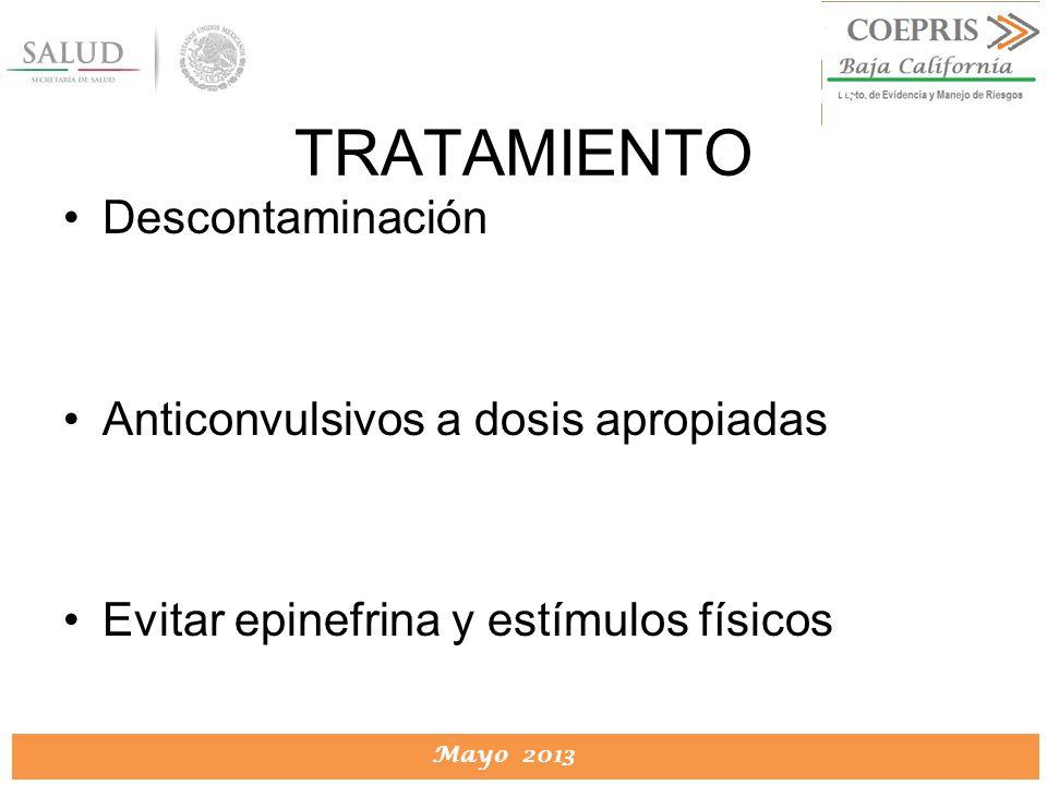 DIRECCION DE PROTECCION CONTRA RIESGOS SANITARIOS Mayo 2013 DIRECCION DE PROTECCION CONTRA RIESGOS SANITARIOS Descontaminación Anticonvulsivos a dosis