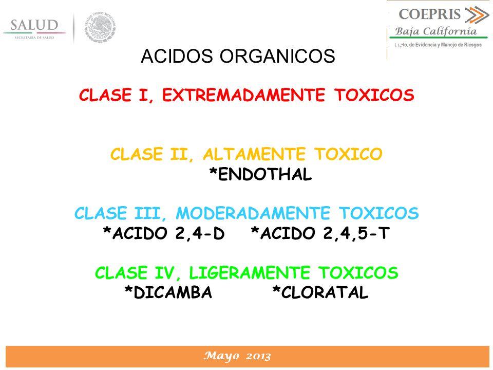 DIRECCION DE PROTECCION CONTRA RIESGOS SANITARIOS Mayo 2013 DIRECCION DE PROTECCION CONTRA RIESGOS SANITARIOS CLASE I, EXTREMADAMENTE TOXICOS CLASE II