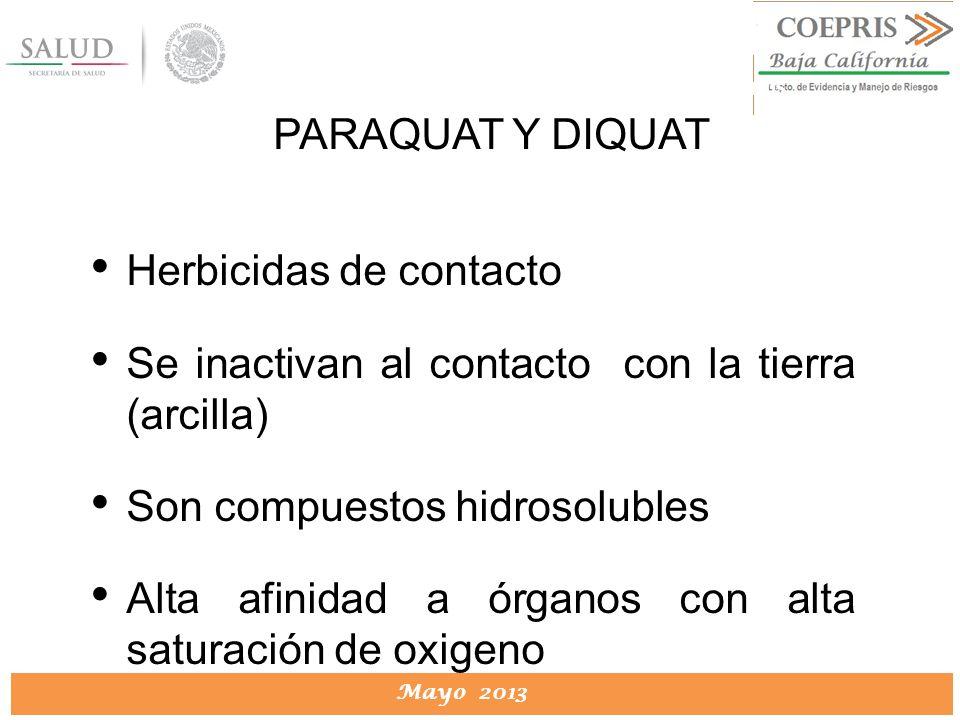 DIRECCION DE PROTECCION CONTRA RIESGOS SANITARIOS Mayo 2013 DIRECCION DE PROTECCION CONTRA RIESGOS SANITARIOS Herbicidas de contacto Se inactivan al c
