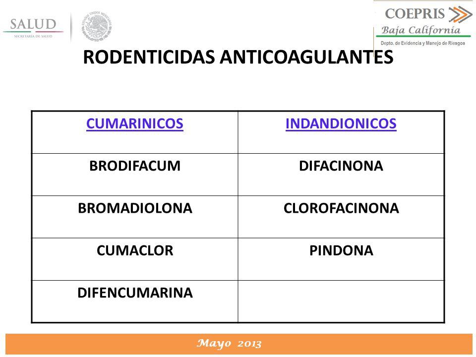 DIRECCION DE PROTECCION CONTRA RIESGOS SANITARIOS Mayo 2013 RODENTICIDAS ANTICOAGULANTES CUMARINICOSINDANDIONICOS BRODIFACUMDIFACINONA BROMADIOLONACLO