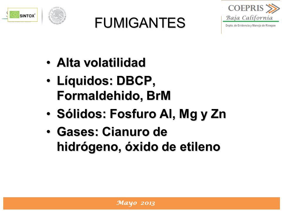 DIRECCION DE PROTECCION CONTRA RIESGOS SANITARIOS Mayo 2013 FUMIGANTES Alta volatilidadAlta volatilidad Líquidos: DBCP, Formaldehido, BrMLíquidos: DBC