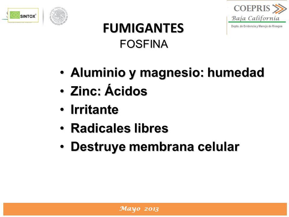 DIRECCION DE PROTECCION CONTRA RIESGOS SANITARIOS Mayo 2013 FOSFINA Aluminio y magnesio: humedadAluminio y magnesio: humedad Zinc: ÁcidosZinc: Ácidos