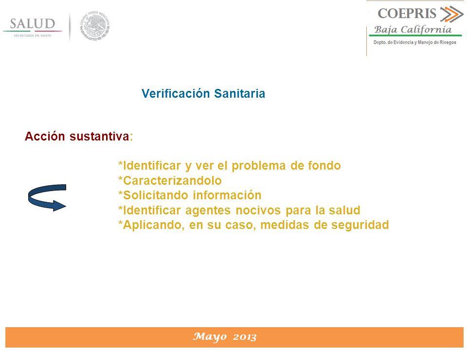 DIRECCION DE PROTECCION CONTRA RIESGOS SANITARIOS Mayo 2013 Verificación Sanitaria Acción sustantiva: *Identificar y ver el problema de fondo *Caracte