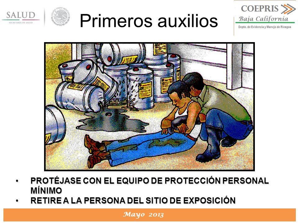 DIRECCION DE PROTECCION CONTRA RIESGOS SANITARIOS Mayo 2013 PROTÉJASE CON EL EQUIPO DE PROTECCIÓN PERSONAL MÍNIMOPROTÉJASE CON EL EQUIPO DE PROTECCIÓN