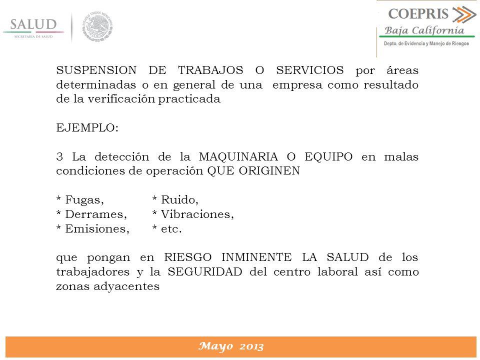 DIRECCION DE PROTECCION CONTRA RIESGOS SANITARIOS Mayo 2013 SUSPENSION DE TRABAJOS O SERVICIOS por áreas determinadas o en general de una empresa como