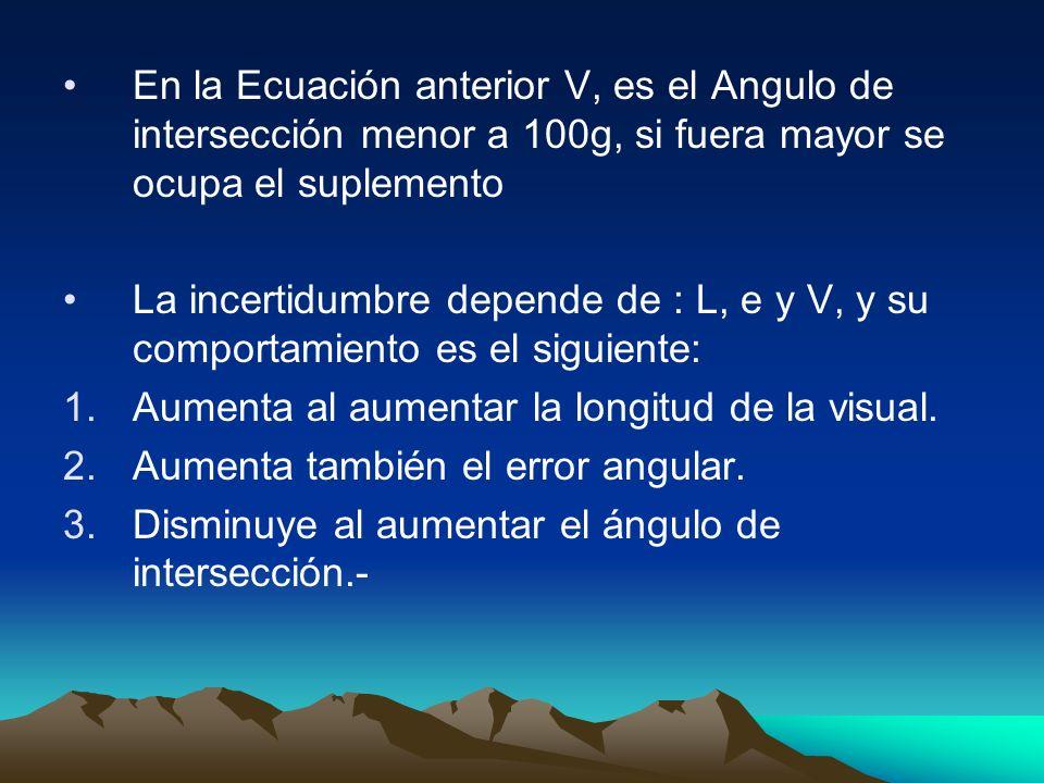 En la Ecuación anterior V, es el Angulo de intersección menor a 100g, si fuera mayor se ocupa el suplemento La incertidumbre depende de : L, e y V, y