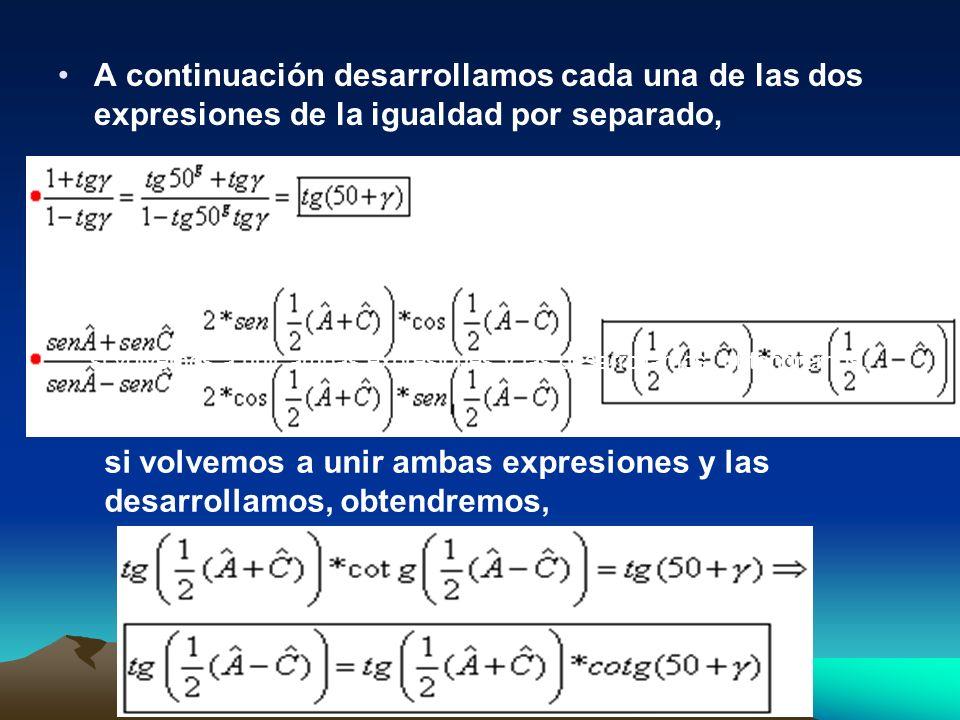 A continuación desarrollamos cada una de las dos expresiones de la igualdad por separado, si volvemos a unir ambas expresiones y las desarrollamos, ob