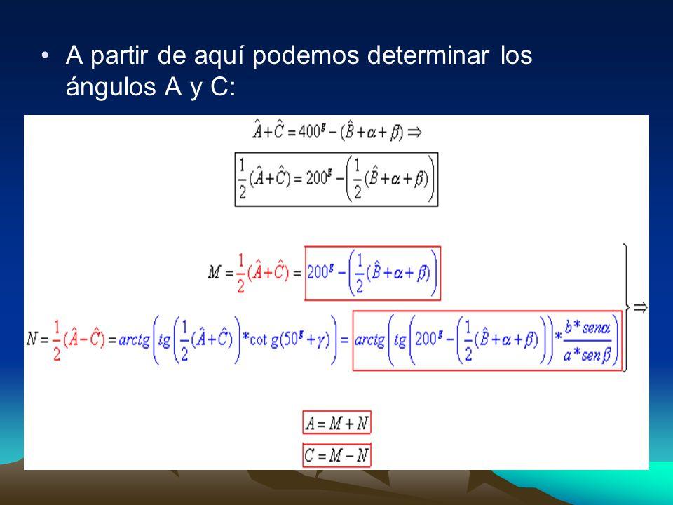 A partir de aquí podemos determinar los ángulos A y C: