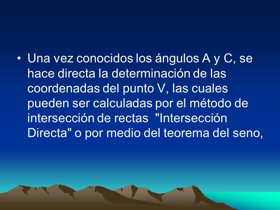Una vez conocidos los ángulos A y C, se hace directa la determinación de las coordenadas del punto V, las cuales pueden ser calculadas por el método d