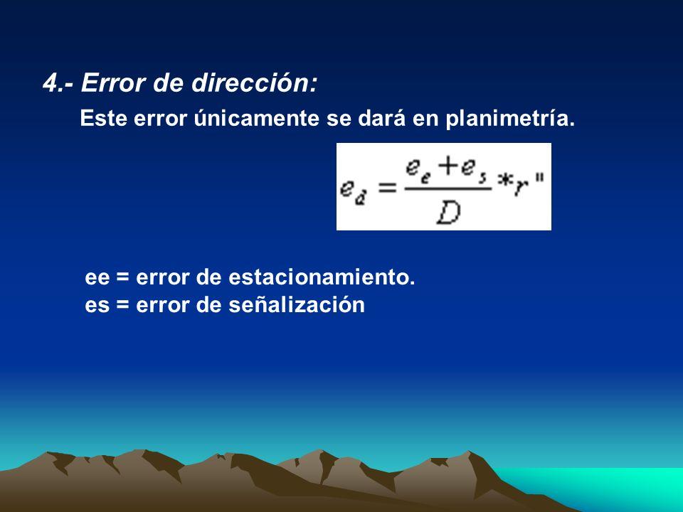 4.- Error de dirección: Este error únicamente se dará en planimetría. ee = error de estacionamiento. es = error de señalización
