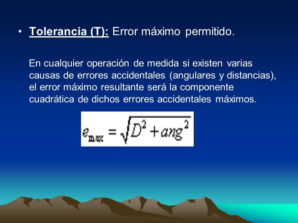 Tolerancia (T): Error máximo permitido. En cualquier operación de medida si existen varias causas de errores accidentales (angulares y distancias), el