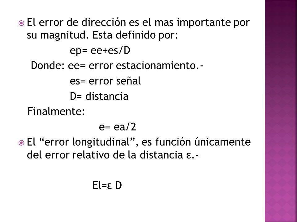 El error de dirección es el mas importante por su magnitud. Esta definido por: ep= ee+es/D Donde: ee= error estacionamiento.- es= error señal D= dista