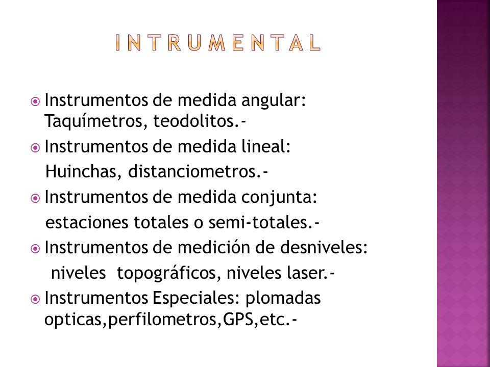 Instrumentos de medida angular: Taquímetros, teodolitos.- Instrumentos de medida lineal: Huinchas, distanciometros.- Instrumentos de medida conjunta: