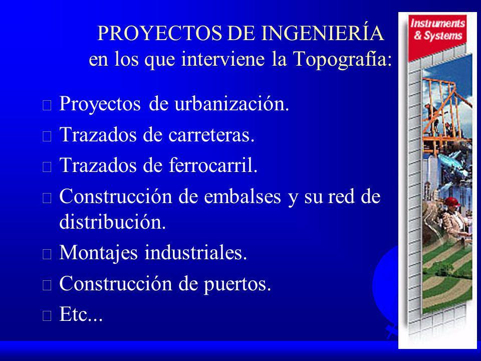 PROYECTOS DE INGENIERÍA en los que interviene la Topografía: F Proyectos de urbanización.