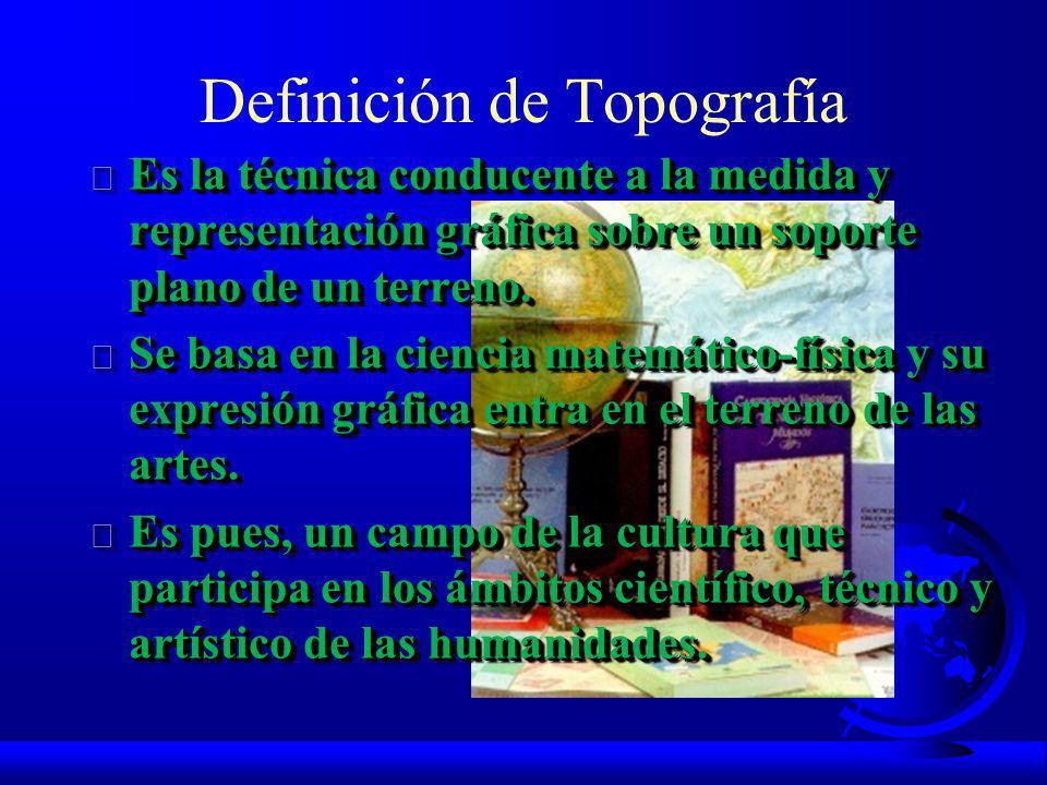 Definición de Topografía F Es la técnica conducente a la medida y representación gráfica sobre un soporte plano de un terreno.