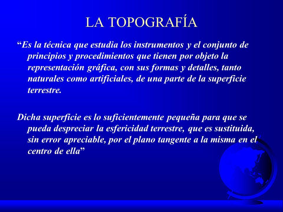 LA TOPOGRAFÍA Es la técnica que estudia los instrumentos y el conjunto de principios y procedimientos que tienen por objeto la representación gráfica, con sus formas y detalles, tanto naturales como artificiales, de una parte de la superficie terrestre.