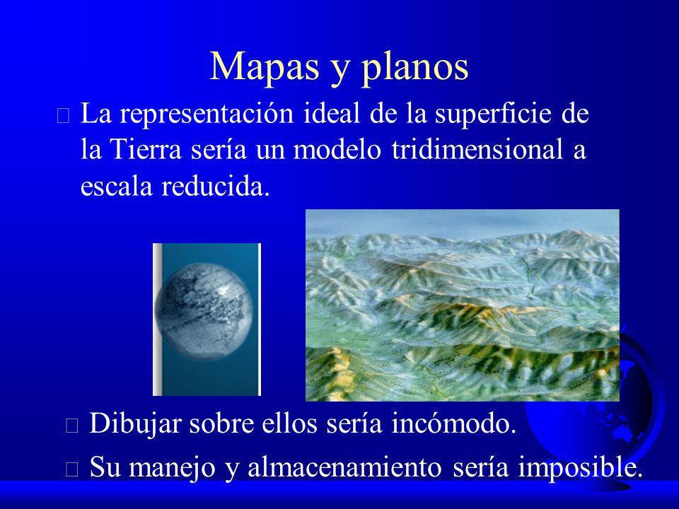 Mapas y planos F La representación ideal de la superficie de la Tierra sería un modelo tridimensional a escala reducida.