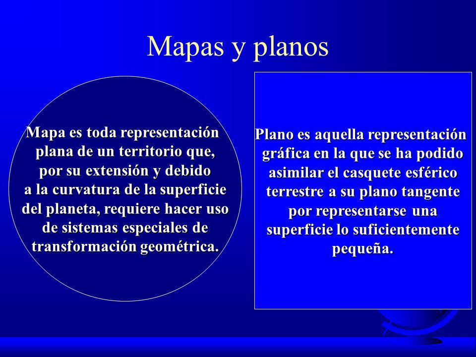 Mapas y planos Mapa es toda representación plana de un territorio que, por su extensión y debido a la curvatura de la superficie del planeta, requiere hacer uso de sistemas especiales de transformación geométrica.