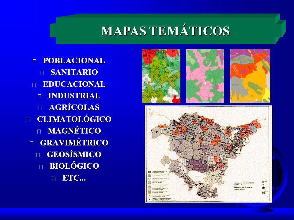 F POBLACIONAL F SANITARIO F EDUCACIONAL F INDUSTRIAL F AGRÍCOLAS F CLIMATOLÓGICO F MAGNÉTICO F GRAVIMÉTRICO F GEOSÍSMICO F BIOLÓGICO F ETC...