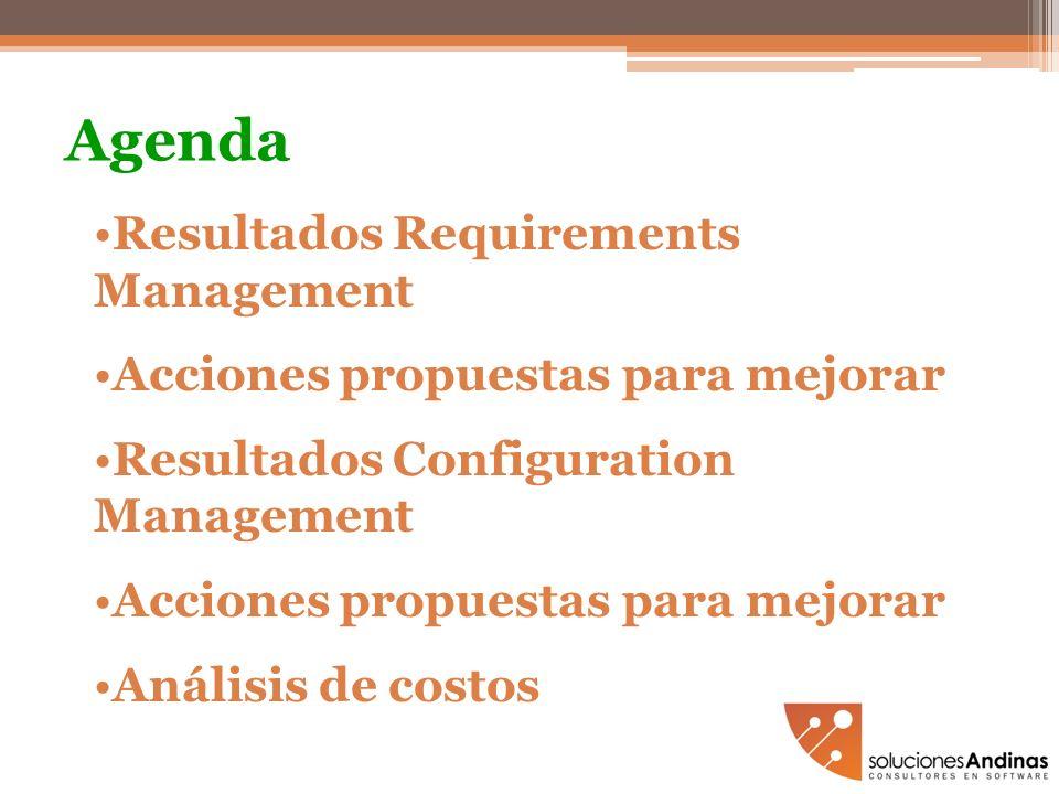 Agenda Resultados Requirements Management Acciones propuestas para mejorar Resultados Configuration Management Acciones propuestas para mejorar Anális