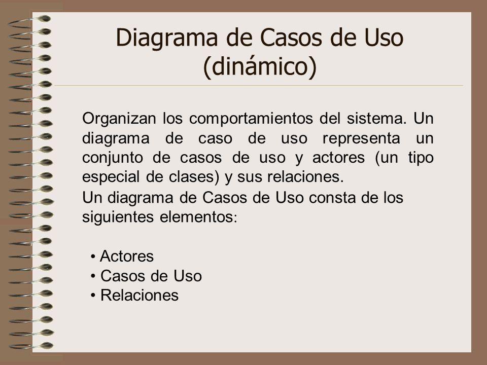 Diagrama de Casos de Uso (dinámico) Organizan los comportamientos del sistema. Un diagrama de caso de uso representa un conjunto de casos de uso y act