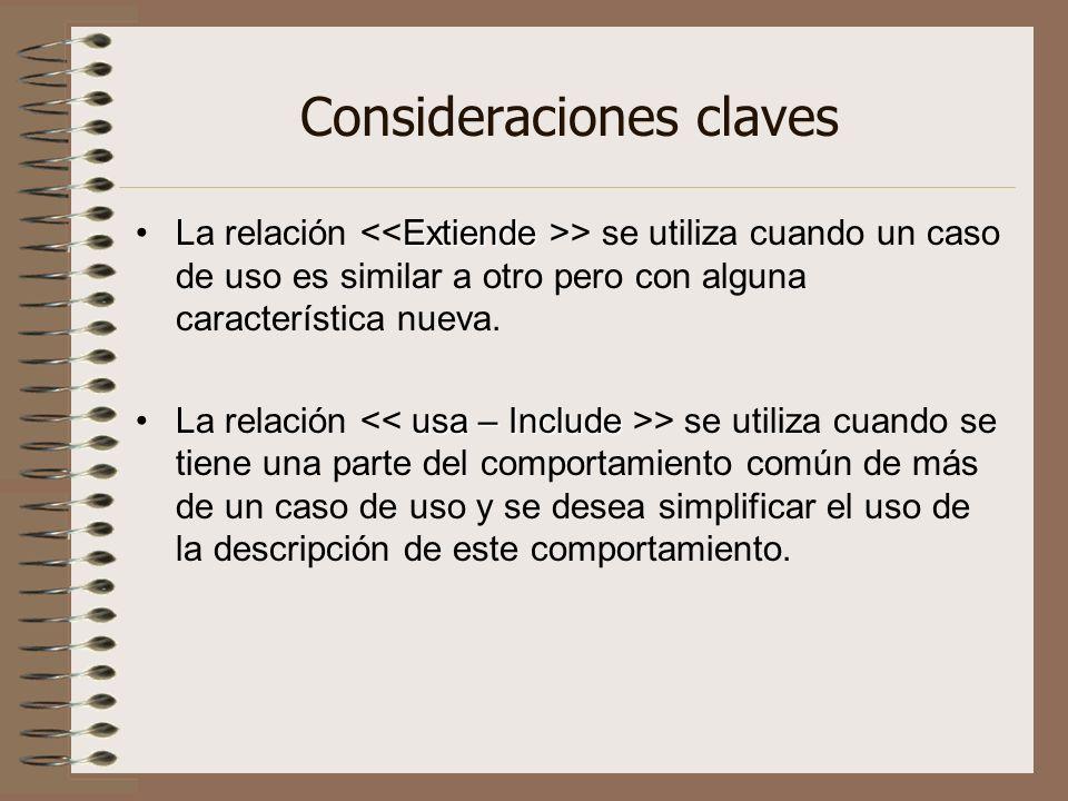 ExtiendeLa relación > se utiliza cuando un caso de uso es similar a otro pero con alguna característica nueva. usa – IncludeLa relación > se utiliza c