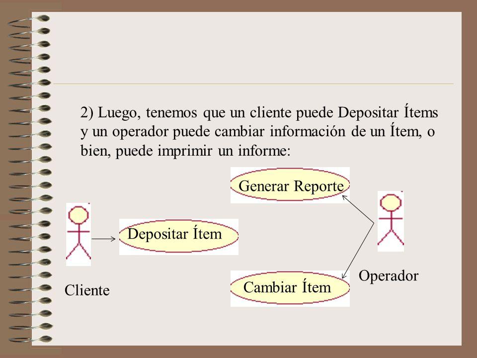 2) Luego, tenemos que un cliente puede Depositar Ítems y un operador puede cambiar información de un Ítem, o bien, puede imprimir un informe: Cliente