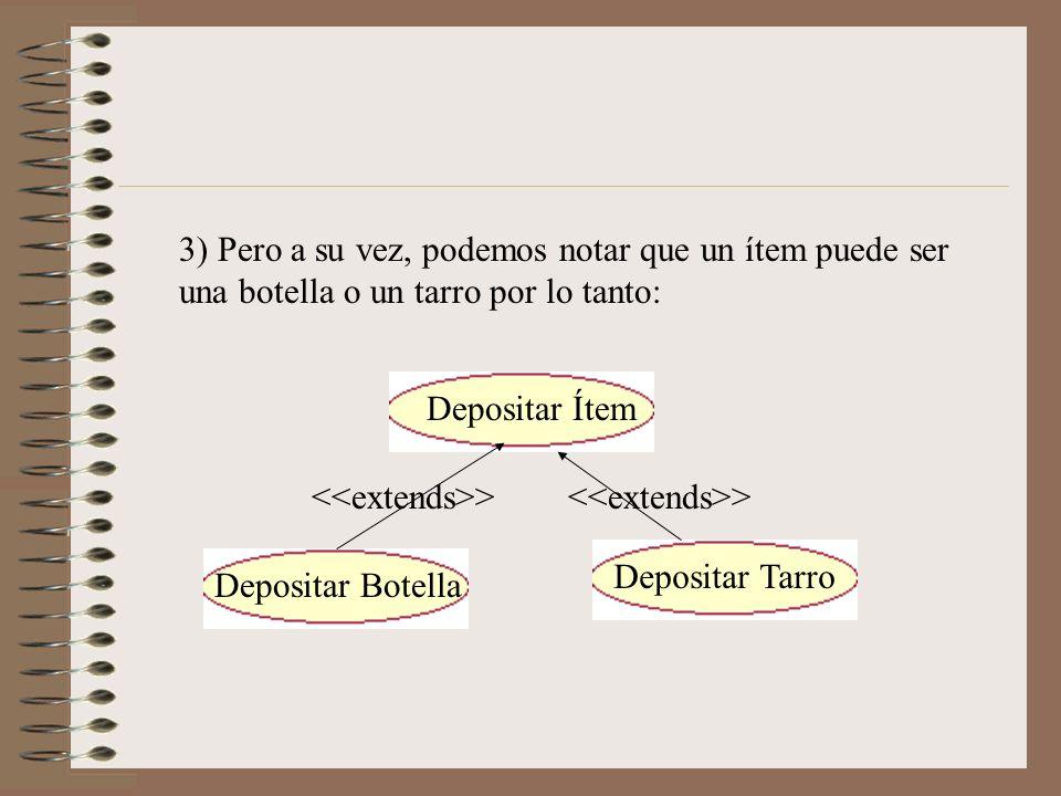 3) Pero a su vez, podemos notar que un ítem puede ser una botella o un tarro por lo tanto: Depositar Ítem Depositar Botella Depositar Tarro >