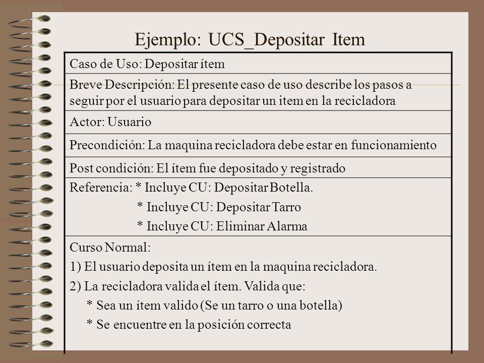 Ejemplo: UCS_Depositar Item Caso de Uso: Depositar ítem Breve Descripción: El presente caso de uso describe los pasos a seguir por el usuario para dep