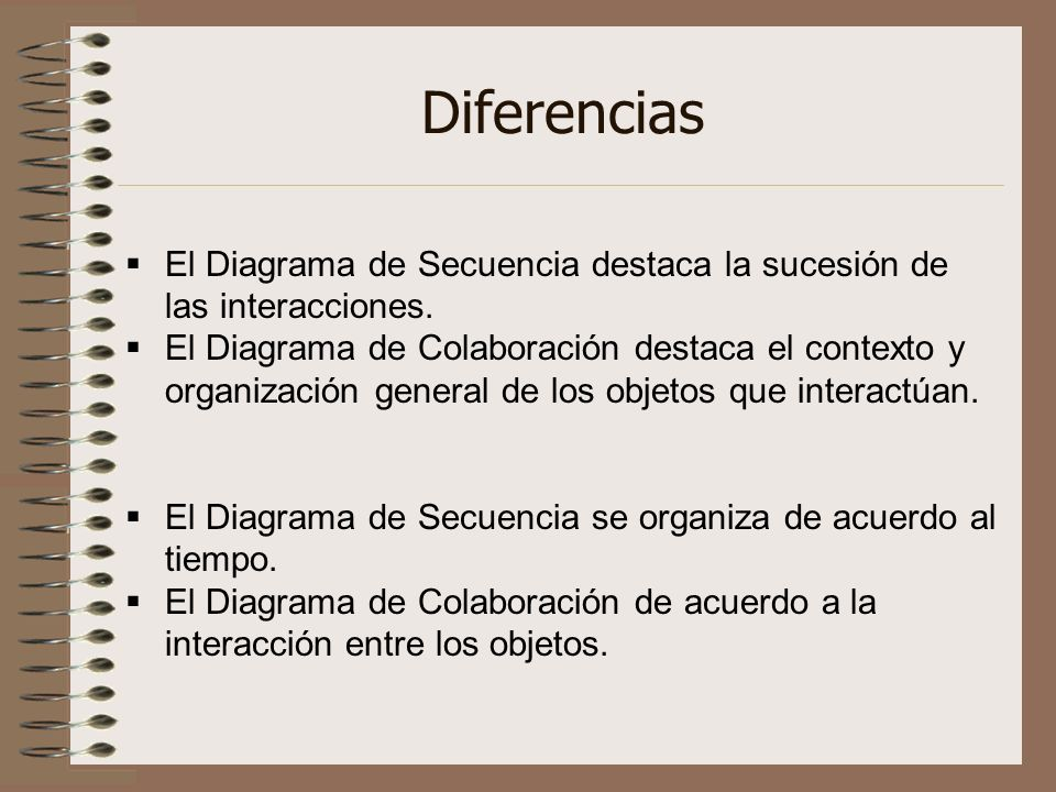 Diferencias El Diagrama de Secuencia destaca la sucesión de las interacciones. El Diagrama de Colaboración destaca el contexto y organización general