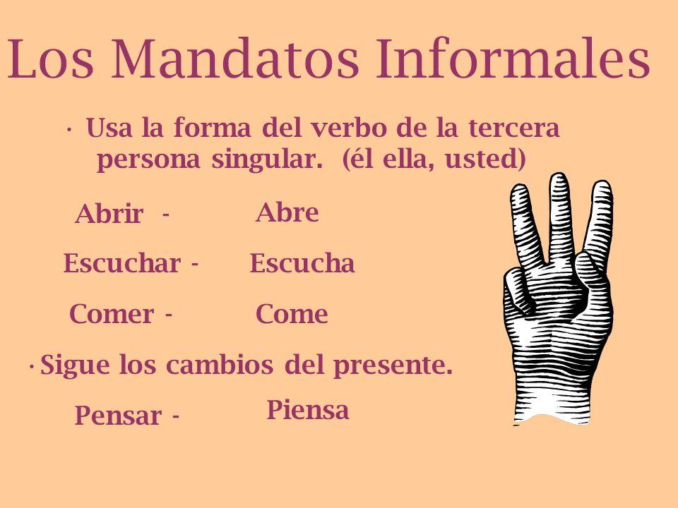 Usa Los Mandatos Informales con... -Amigos - Personas que conoces bien -Personas mas joven o de la misma edad