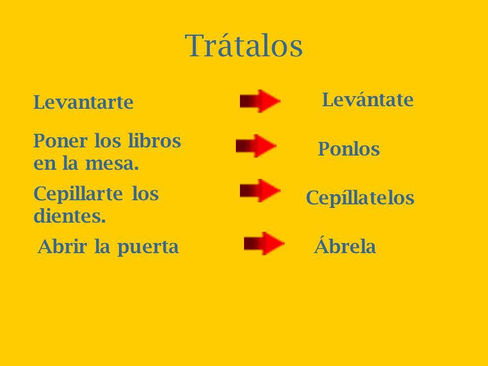 Las Reglas Algunos mandatos con pronombres se requiere un acento para mantener el sonido del verbo: Se pone los pronombres al fin de los mandatos afir