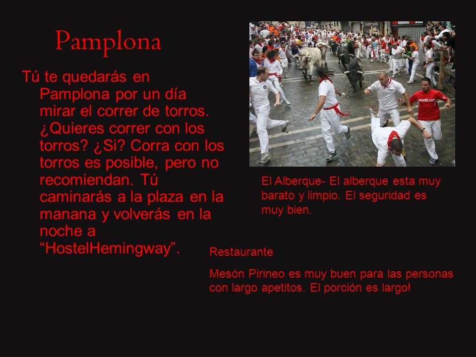 Pamplona Tú te quedarás en Pamplona por un día mirar el correr de torros.