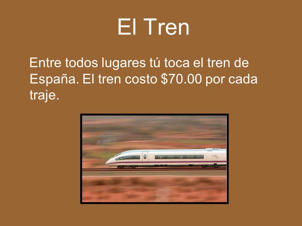 El Tren Entre todos lugares tú toca el tren de España. El tren costo $70.00 por cada traje.