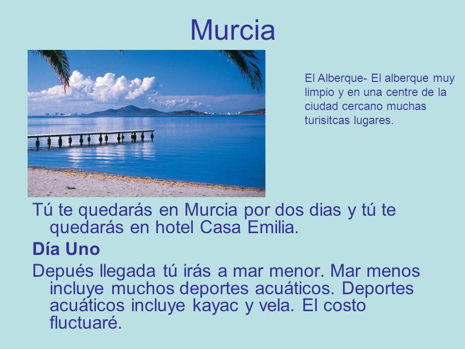 Murcia Tú te quedarás en Murcia por dos dias y tú te quedarás en hotel Casa Emilia.