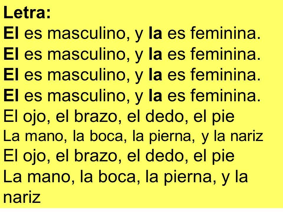 Letra: El es masculino, y la es feminina. El ojo, el brazo, el dedo, el pie La mano, la boca, la pierna, y la nariz El ojo, el brazo, el dedo, el pie