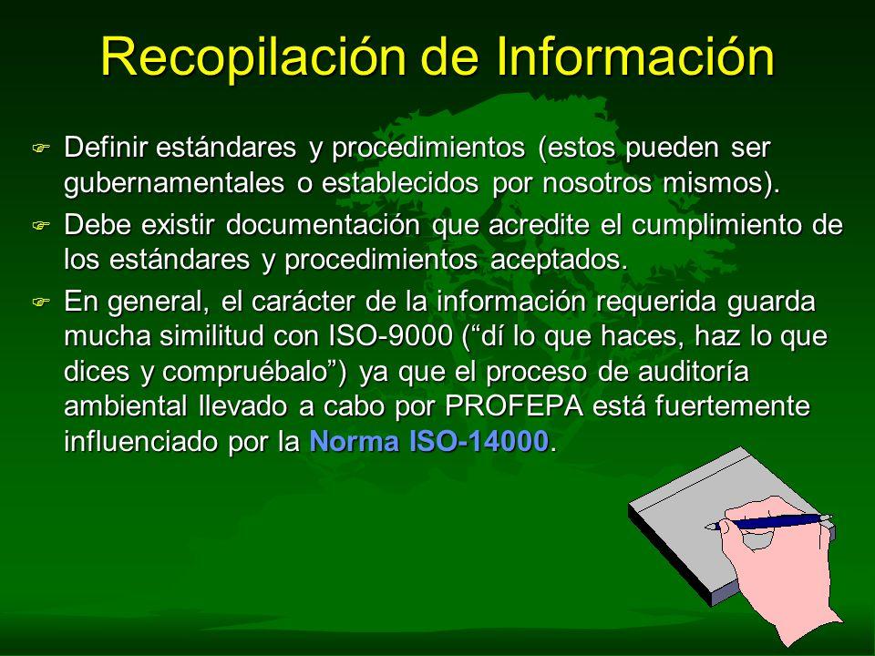 Recopilación de Información F Definir estándares y procedimientos (estos pueden ser gubernamentales o establecidos por nosotros mismos). F Debe existi
