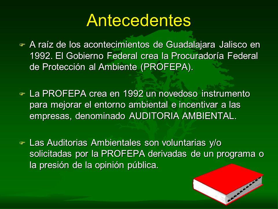 Antecedentes F A raíz de los acontecimientos de Guadalajara Jalisco en 1992. El Gobierno Federal crea la Procuradoría Federal de Protección al Ambient
