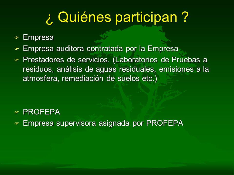 ¿ Quiénes participan ? F Empresa F Empresa auditora contratada por la Empresa F Prestadores de servicios. (Laboratorios de Pruebas a residuos, análisi