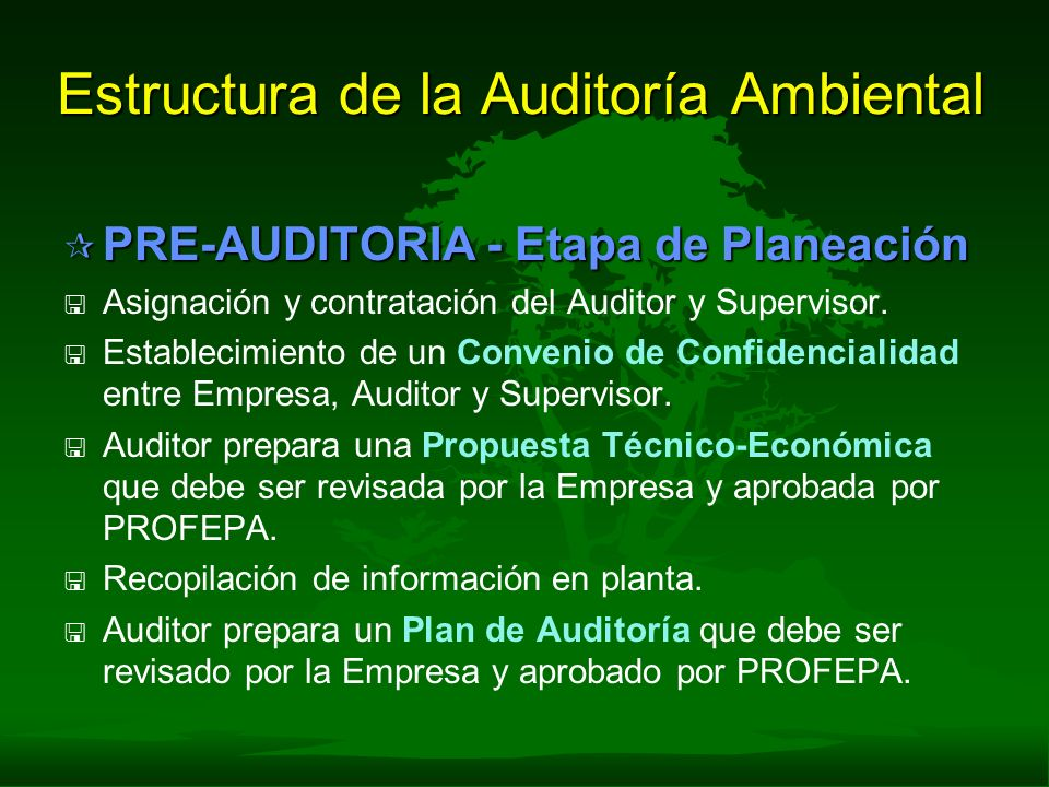 Estructura de la Auditoría Ambiental ¶ PRE-AUDITORIA - Etapa de Planeación < < Asignación y contratación del Auditor y Supervisor. < < Establecimiento