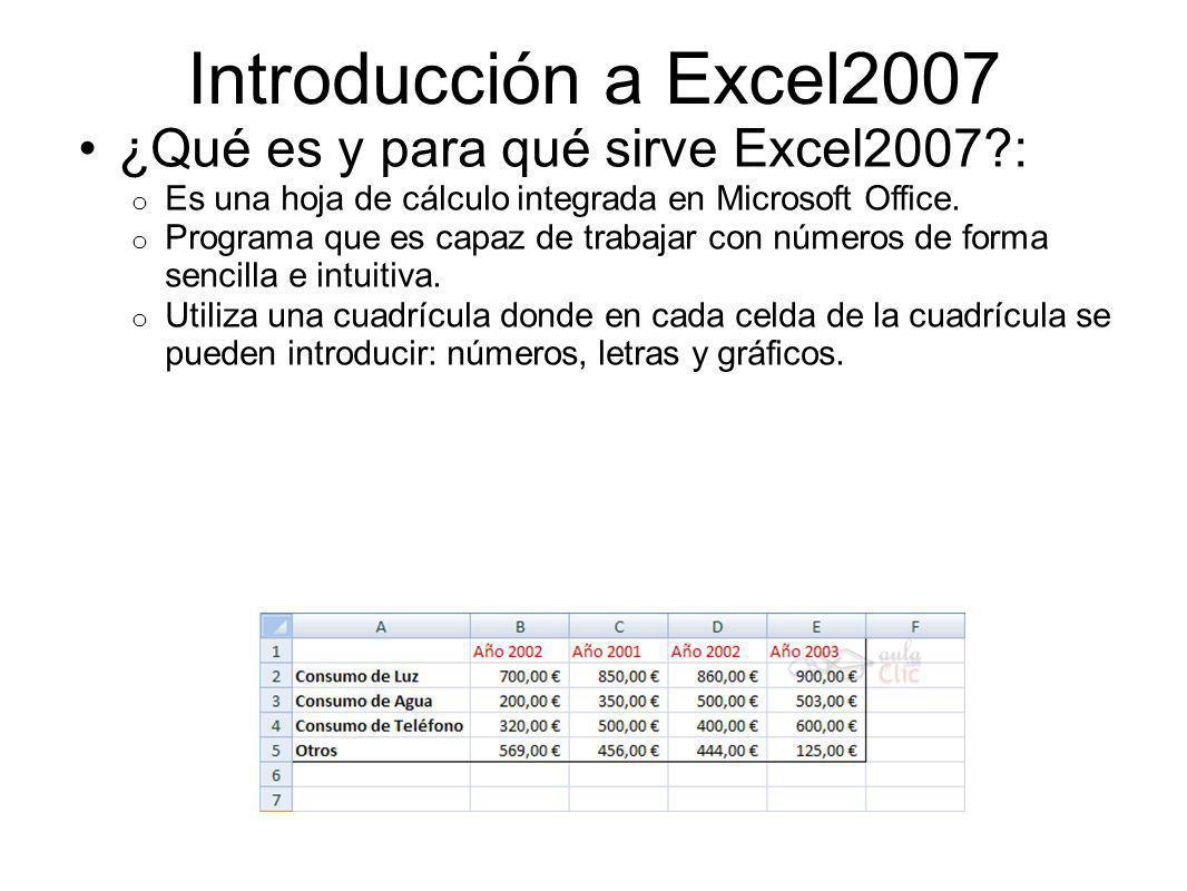 Introducción a Excel2007 Libro de trabajo (Tienen la extensión.XLS): o Todo lo que hacemos en este programa se almacenará formando el libro de trabajo.
