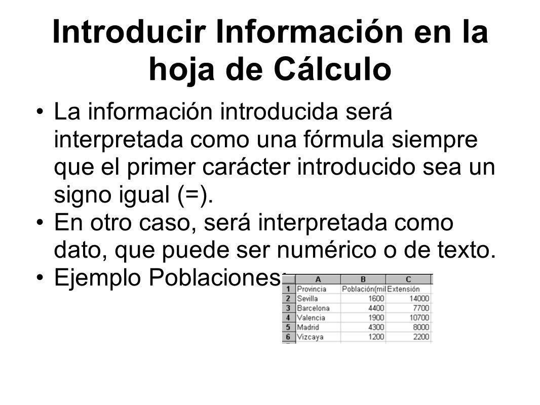 Introducir Información en la hoja de Cálculo La información introducida será interpretada como una fórmula siempre que el primer carácter introducido sea un signo igual (=).